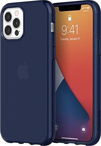 Griffin Survivor GIP-051-NVY - Carcasa Transparente para Apple iPhone 12/12 Pro (6,1 Pulgadas), diseño Fino, Esquinas amortiguadoras, Compatible con Qi, Color Azul Transparente