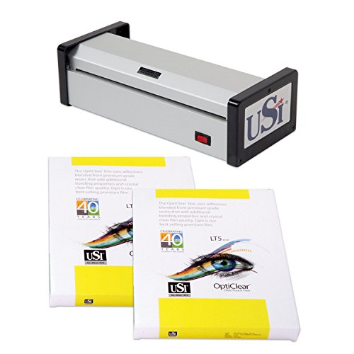 USI HD1200 Heavy Duty Pouch Laminator Kit, Laminates Pouches up to 12 Inches Wide and 15 Mil Thick; 5-Year Warranty, Includes 100-Packs of Premium Opti Clear 5 Mil Letter and 5 Mil Legal Pouches