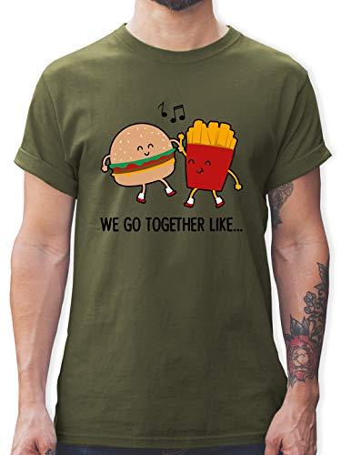 Valentinstag - We go Together Like. Burger und Pommes - M - Army Grün - Fun - L190 - Tshirt Herren und Männer T-Shirts