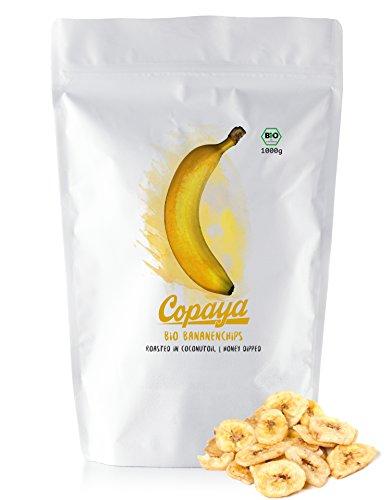 Copaya Bio Bananenchips 1000g, Honey Dipped, Krosse Bananen Chips mit feiner Honig Note im praktischen Aromaschutz Beutel mit Zipper, 1000g (1kg)