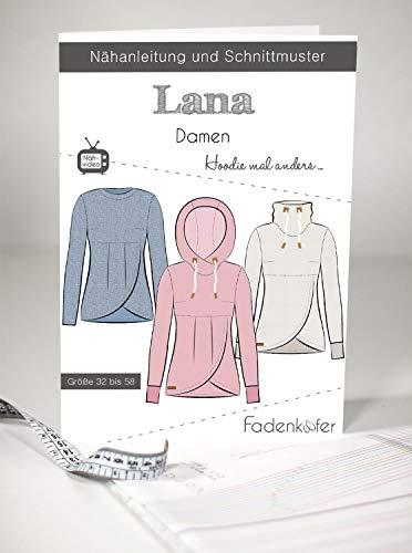 Schnittmuster Fadenkäfer Lana Hoodie mal anders für Damen Gr. 32-58 Papierschnittmuster