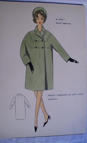 FIGURIN ORIGINAL ACUARELADO - Original watercolor design costume - SAINT LAURENT :...
