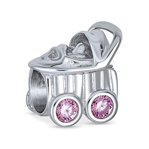 Bling Jewelry Regalo para La Nueva Mamá Rosa CZ Cochecito Cochecito De Bebé Albalorio para Mujer 925 para Pulsera Europea