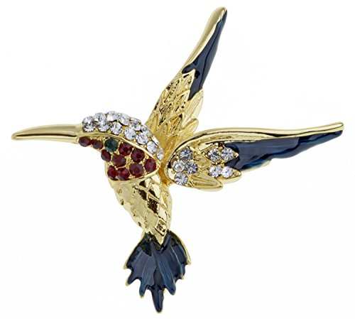 Jodie Rose Colourful 0.2 ct Crystal Kingfisher Base Metal Brooch