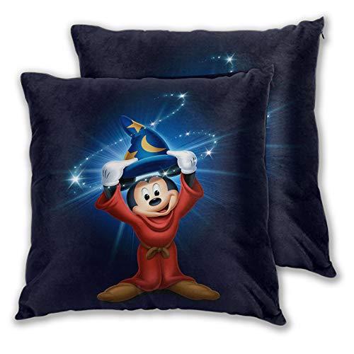 SSKJTC Coloridas fundas de almohada Fantasia Mickey Mouse Mago para sofá, cama, silla, decorativa, 55 x 55 cm, paquete de 2