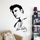 Legend Rock Music King Star Singer Elvis Presley Retrato Firma Vinilo Etiqueta de la pared Calcomanía para autos Boy Fans Dormitorio Sala de estar Club Studio Decoración para el hogar Mural