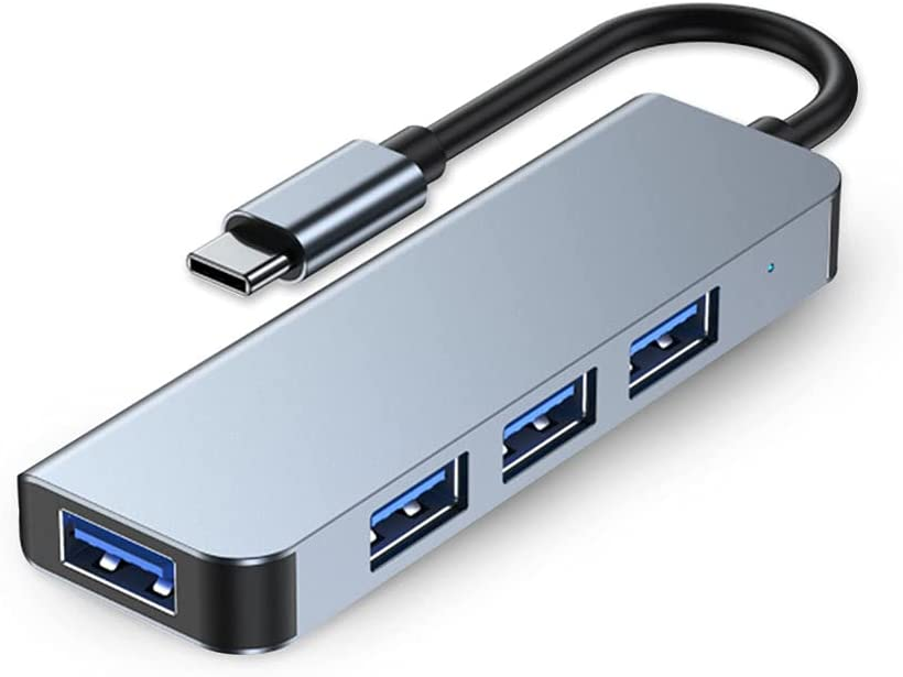 USB HUB, Type C to 4-Port Multi USB HUB, HILZO Portable USB Type C to USB 3.0 & USB 2.0 Four Ports Slim Portable USB Hub [LED Indication] for Surface, MacBook, Laptop, Desktop, and More