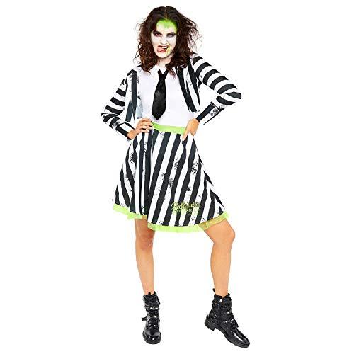 amscan- Beetlejuice-Disfraz de Mujer (Talla, 1 Unidad), Color negro/blanco, UK Size 16-18 (9907634)