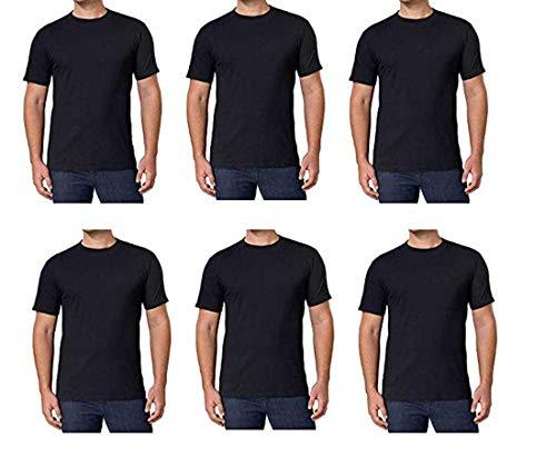 Kirkland Signature Herren-T-Shirts, Rundhalsausschnitt, 100 % gekämmte Baumwolle, weich, bequem, Schwarz, 6 Stück -  Schwarz -  Groß