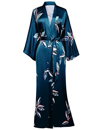 BABEYOND Damen Morgenmantel Blätter Muster Maxi Lang Robe Kimono Sommer Satin Bademantel Damen Strandkleid Leicht Schlafmantel (Dunkelgrün, Einheitsgröße)