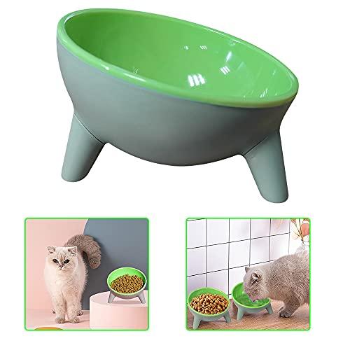 Cuenco para mascotas y gatos, bandeja de agua para alimentos de 15 grados, inclinado elevado, soporte elevado, para perro, cachorro, transparente, no derrames, multiusos, alimentador elevado duradero