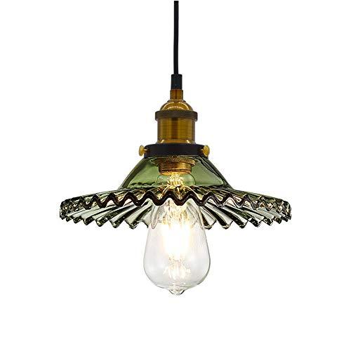 Huahan Haituo Industrie Vintage Anhänger Licht Glas Lampe Schatten Retro Glas Anhänger Licht Passende Decke Lampe hängen Leuchten Kronleuchter für Loft Kaffee Bar Küche (Smaragdgrün)