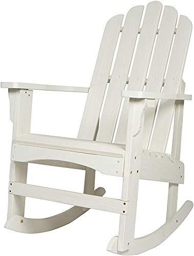 Ergonomischer Sitz- und Bogensitz zurück, Wave Profil Veranda Schaukelstuhl, geeignet für den Außenbereich, ist der Rasen, Veranda,White
