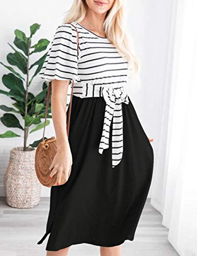 Women's Summer Striped Ruffle Casual Swing Midi Dress 6