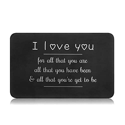 Valentine Gifts for Him Her Men Wallet Card Insert Black Husband Christmas from Wife Girlfriend Boyfriend Anniversary Birthday Gift Mini Love Note Wedding Engagement Gifts for Groom Fiance I love you