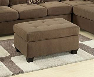 Poundex Smooth Waffle Suede Cocktail Ottoman, Brown