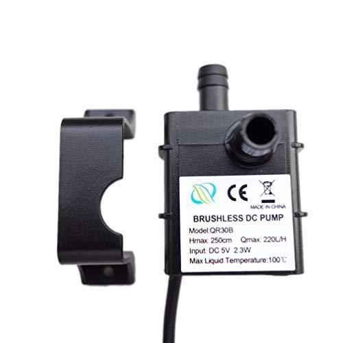Geräuscharm Qr30B DC 5V 2,3W 220L / H wasserdichte bürstenlose Ip68-CPU-Wasserpumpe (schwarz)