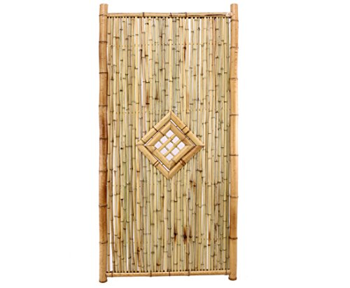 bambus-discount.com Bambuszaun Ten New Line3 180x90cm mit Fenster, Füllung und Rahmen aus Natur Rohren Sichtschutzwand Sichtschutzelement Sichtschutz