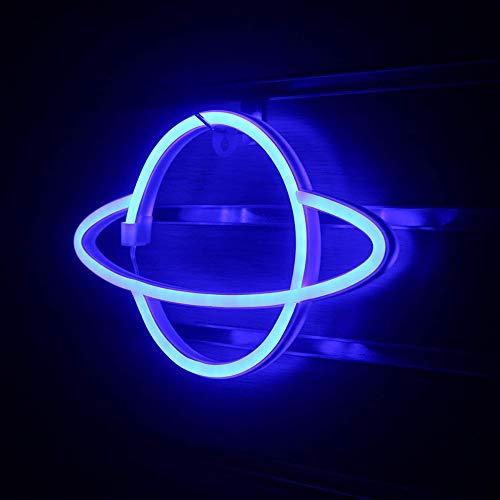 DEDC Planet Neonlicht, LED-Schilder, Wanddekoration, niedliche Wand-Nacht-Schilder, batterie- oder USB-betriebene Neonlichter Dekoration, 30 x 18 cm (Blau)