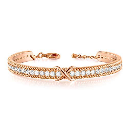 Angelady Bracelet Or Rose Femme Bracelet Argent avec 5A Zircon Cubique, Bracelet Argent Infini Cadeau Bijoux Saint Valentin Cadeau Anniversaire Femme Maman