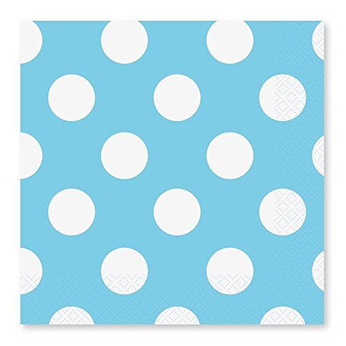 Takestop® 72 stuks papieren servetten wegwerpservetten party bruiloft verjaardag geboorte doop hemelsblauw stippen