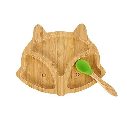 Plato de Bamboo con Fuerte Ventosa Plato de Alimentación para Bebés y Niños Pequeños Antideslizante Hecho de Bambú Natural en Forma de Zorro (Color Aleatorio de Cuchara)