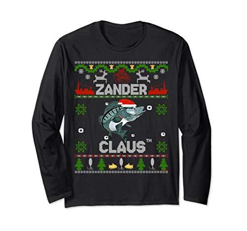Zander Claus - Weihnachtspulli für Angler lustiger Weihnacht Langarmshirt