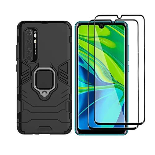HAOTIAN Cover per Xiaomi Mi Note 10 Lite + 2 Vetro Temperato, Armor Custodia con 360 Gradi Girevole Anello e Supporto Magnetico Auto, Silicone TPU e PC Doppio Strato Protettiva Bumper. Nero