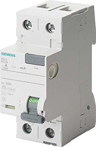 Siemens 5SV3312-6KK12 RCCB, 2-polig, Typ A, In: 25A, 30mA, Un AC: 230V, SIGRES (harte Umgebungsbedingungen), weiß