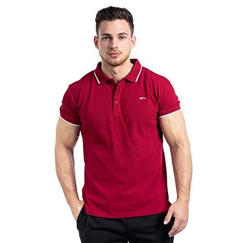 SMILODOX Herren Poloshirt Eagle | Kurzarm | Casual Top | Klassisches Design | Funktionsshirt für Sport Fitness Gym | Trainingsshirt - Laufshirt - Sportshirt, Größe:M, Farbe:Bordeaux