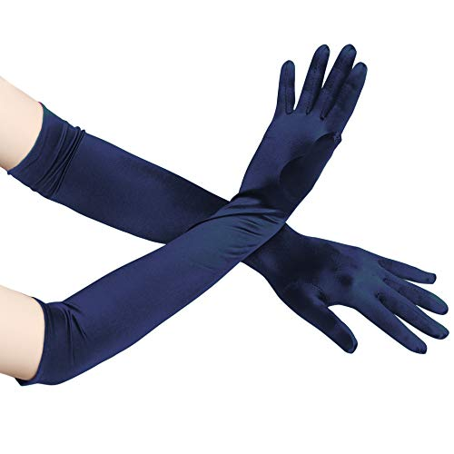 BABEYOND Long Evening Gloves Satin Elbow Gloves Bridal Fancy Dress Gloves Wedding Prom Opera Gloves 1920s Style for Women(Long Smooth 52cm/Darkblue, One Size)
