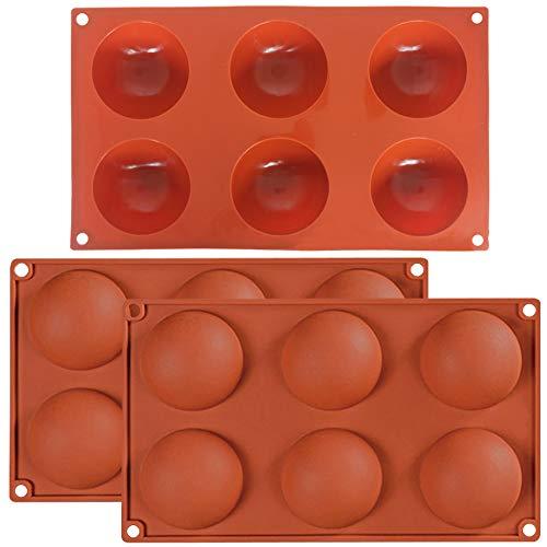 3 unidades de 6 agujeros de hemisferio grande, molde de silicona, fuente 6 cavidades, bandeja de silicona de media esfera (naranja) para chocolate, tarta, gelatina, pudín, jabón hecho a mano