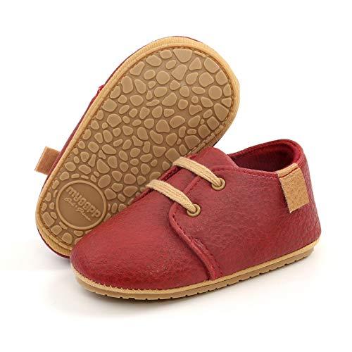 RVROVIC Zapatillas de deporte antideslizantes Oxford mocasines planos para bebé niño pequeño PU cuero suave suela zapatos de bebé, rojo (rojo (3-red)), 12-18 meses