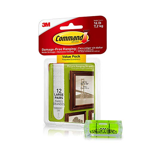 Command Picture Hanging Kit  3m Damage-Free Strips & Leveler  12-Pair   Perfect for Hanging Small & Large Frames, Photos, Pictures, Posters on Walls/Drywalls   No Nail/Hook Damage (12)