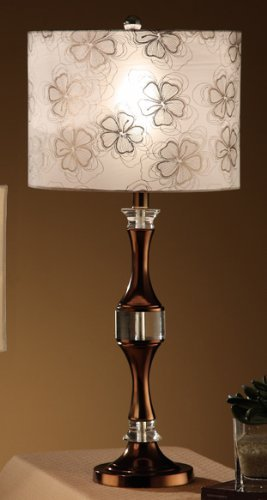 Poundex Set of 2, Beautiful Table Lamp with Beutiful Flower Pattern Shade and Smooth Copper Base