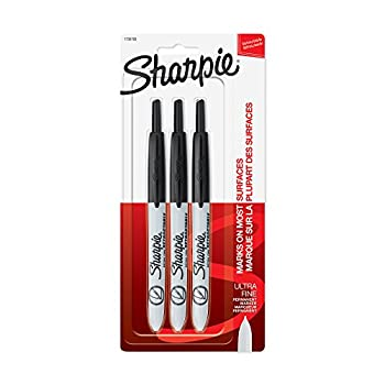 SHARPIE Retractable Permanent Markers Ultra Fine Point Black 3 Count Standard Packaging