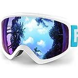 findway K3 Skibrille Snowboardbrille Kinder - Ski Snowboard Brille Brillenträger Schneebrille Verspiegelt für Kinder Jungen und Mädchen 3 4 5 6 7 8 9 10 11 12 Jahre OTG Anti-UV Anti-Fog (Blau)