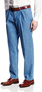 Lee Uniforms Men's Big & Tall Big-Tall Stain Resistant Relaxed Fit Pleated Pant - Blue - 48W x 34L
