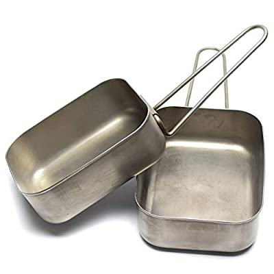 Original Dutch Army Stainless Steel Mess tins Mess kit Cooker Genuine Military Issue Two Piece kit