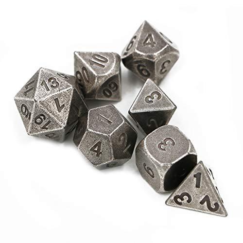 FD2LB1NVL Dadi Gioco Lega Zinco Numeri Metallo Poliedrico 7-Die Dice Set Metallo Ruolo Set di Dadi d&d da Gioco per Dungeons e Draghi, Rpg MTG Dice Gioco, D&D, Insegnamento della Matematica