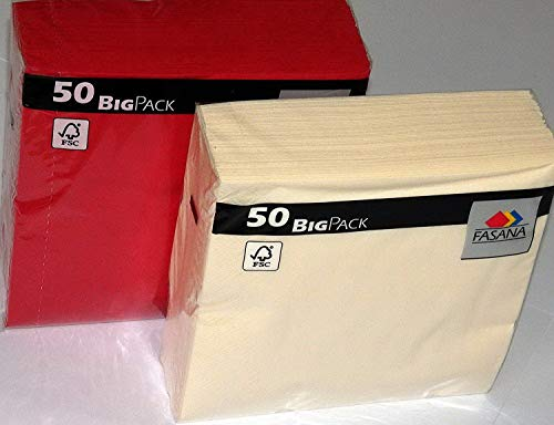 100 Stück Servietten = 50 x creme buttercreme hellgelb softgelb + 50 x leuchtend rot (jalapeno red) - weiche Mundservietten - 33x33 cm - 13x13 inch - 3-lagig - 1/4 Falz