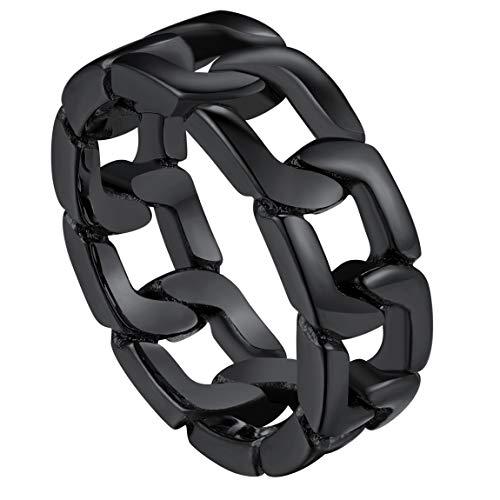 Anillo Negro de Buena Calidad Anillo de Eslabones Cuadrados Acero Inoxidable Metálico Joyería Moderna