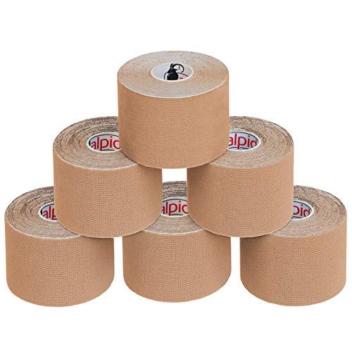 ALPIDEX 6 Rollen Kinesiologie Tape 5 m x 5 cm E-Book Anwendungsbroschüre Elastisches Tape Set, Farbe:hautfarben
