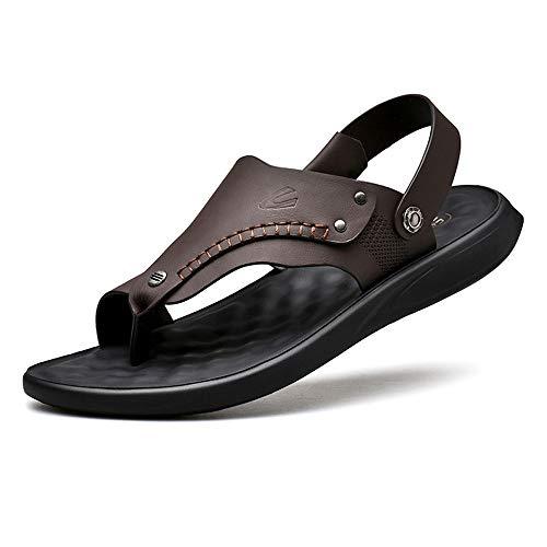 Czcrw Chanclas de Verano Vitality Chancletas Sandalias Moda de Cuero for Hombres Sandalias y Zapatillas de Doble Uso Zapatos de Playa Antideslizantes (Color : Brown, tamaño : 44 EU)