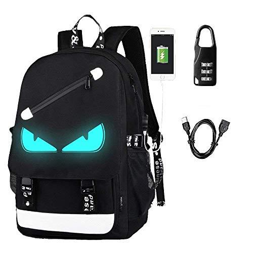 Aokay USB Schulrucksack Schulranzen Schultasche Sports Rucksack Freizeitrucksack Daypacks Backpack mit dem Schloss für Mädchen Jungen & Kinder Damen Herren Jugendliche (Schwarz-Augen)