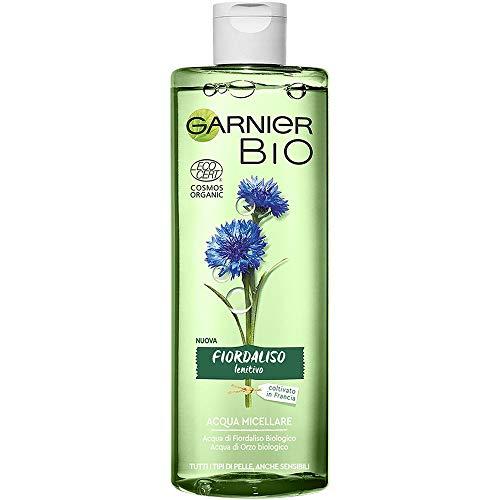 Garnier Bio Acqua Micellare Bio Naturale Fiordaliso Lenitivo, Formula Arricchita con Acqua d'Orzo Biologico e Glicerina Vegetale, 400 ml, Confezione da 1