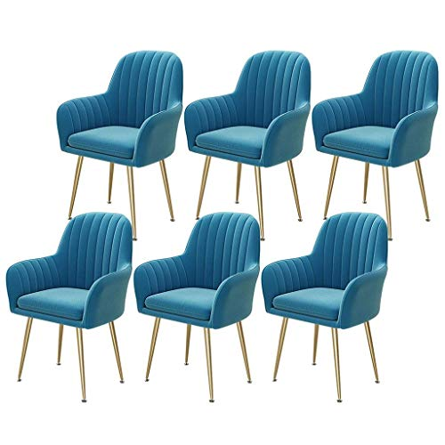 Velvet Dining Chairs Set of 6 Modern Side Chair Upholstered Chair with Gold Metal Legs Armchair Accent Chair Furniture For Dining Room Living Room (Color : Blue)