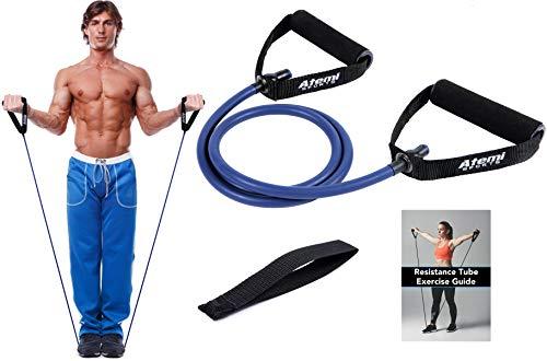 Atemi Sports Fasce Elastiche con Maniglie e Ancoraggio per Porta | Elastici Fitness Bande di Resistenza per Potenziamento della Forza e Fisioterapia | Guida Gratuita agli Esercizi (#3 Blu (Elevato))