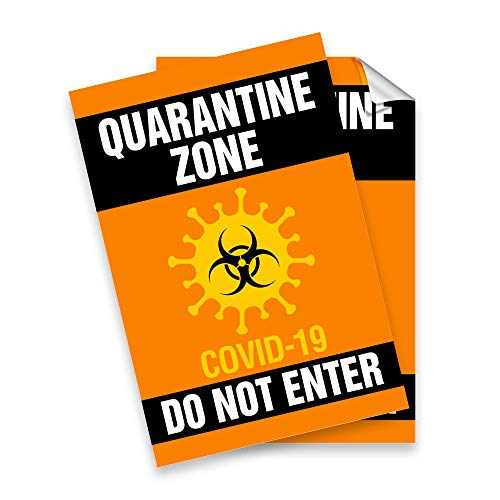 CoronaVirus Covid19 Quarantine Sign Sticker - Do Not Enter Corona Virus Covid 19-5' x 7.5' Decal 2 Pack - Protect Yourself Business Home Family Friends Colleagues - Made in USA Ships Fast