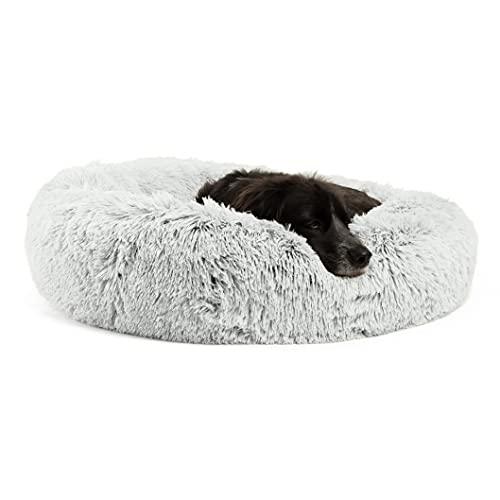 Best Friends by Sheri Calming Shag Vegan Fur Donut Cuddler, Frost, Medium/30″ x 30″ (DNT-SHG-FRS-30ZP-VP)